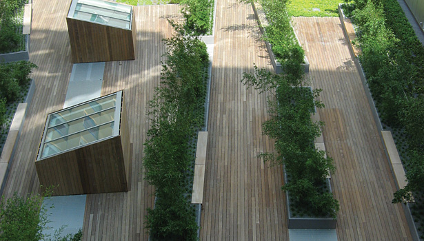 garden roofs atop the Dana-Farber Cancer Institute